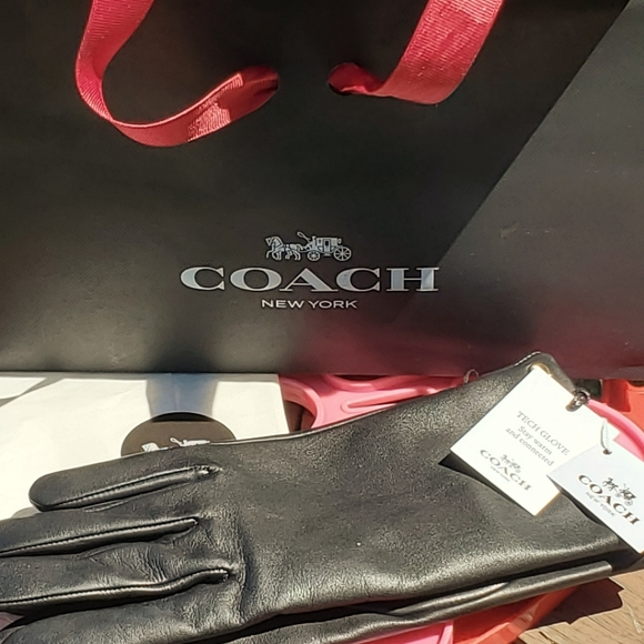 Coach Leather Gloves Cashmere Lining